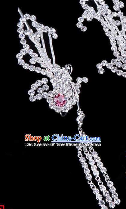 Traditional Beijing Opera Diva Hair Accessories Pink Crystal Phoenix Hairpins Head-ornaments, Ancient Chinese Peking Opera Hua Tan Tassel Step Shake Hair Stick Headwear