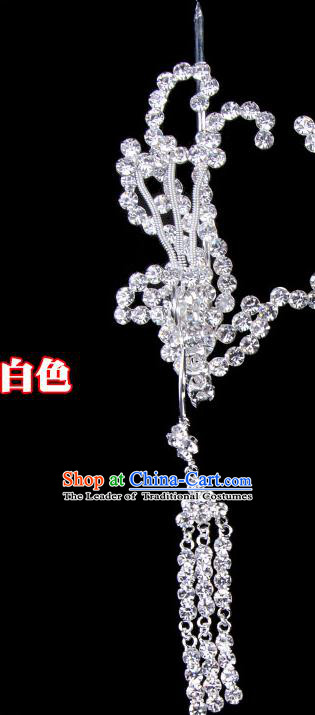 Traditional Beijing Opera Diva Hair Accessories Crystal Phoenix Head Ornaments Hairpins, Ancient Chinese Peking Opera Hua Tan Tassel Step Shake Hair Stick Headwear