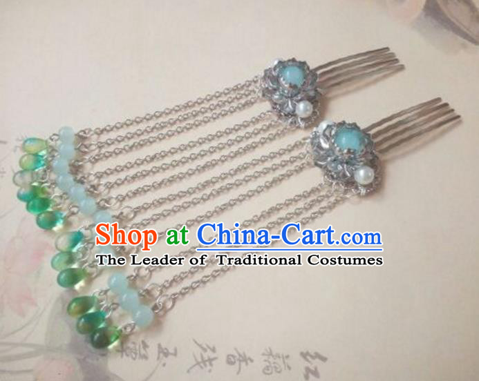 Traditional Handmade Chinese Ancient Classical Hanfu Hair Accessories Green Beads Tassel Hair Comb, Princess Palace Lady Hairpins Hair Stick for Women
