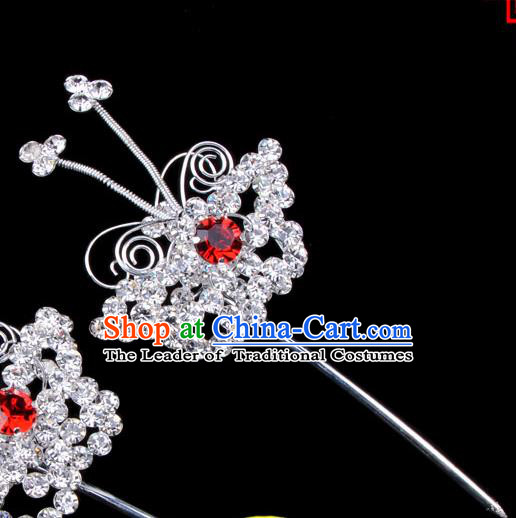 Traditional Beijing Opera Diva Hair Accessories Red Crystal Butterfly Head Ornaments Hairpins, Ancient Chinese Peking Opera Hua Tan Hair Stick Headwear