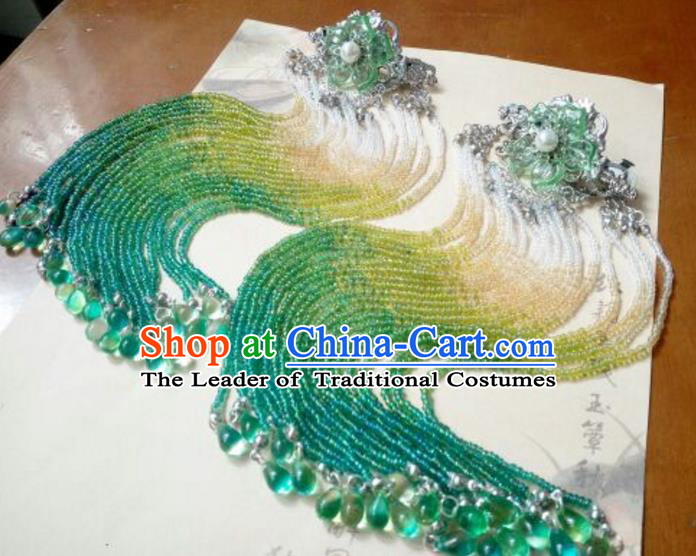 Traditional Handmade Chinese Ancient Classical Hanfu Hair Accessories Green Beads Step Shake, Princess Palace Lady Tassel Hairpins for Women