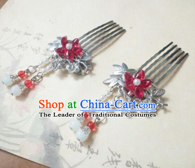 Traditional Handmade Chinese Ancient Classical Hanfu Hair Accessories Red Flower Hair Comb, Princess Palace Lady Tassel Hairpins for Women