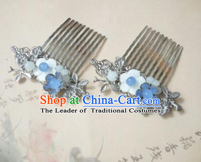 Traditional Handmade Chinese Ancient Classical Hanfu Hair Accessories Shell Flower Hair Comb, Princess Palace Lady Hairpins for Women
