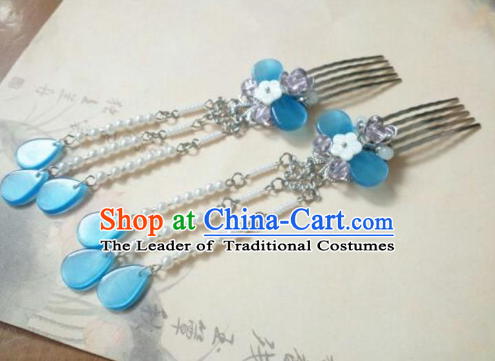 Traditional Handmade Chinese Ancient Classical Hanfu Hair Accessories Tassel Hairpins, Princess Palace Lady Blue Hair Comb for Women
