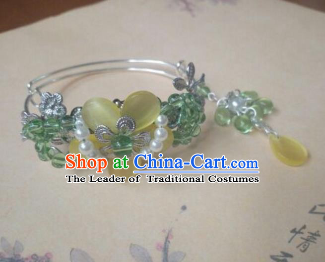 Traditional Handmade Chinese Ancient Classical Hanfu Bracelets, Princess Palace Lady Green Bead Bangle for Women