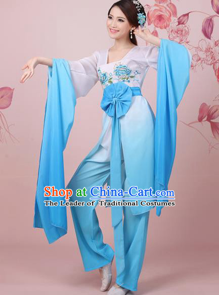 Traditional Ancient Chinese Tang Dynasty Chang E Flying to the Moon Dance Blue Costume, Elegant Hanfu Clothing Chinese Princess Water Sleeve Embroidered Clothing for Women