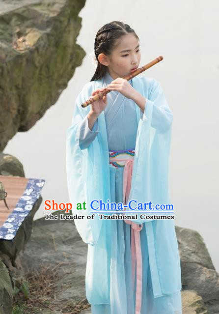 Traditional Ancient Chinese Princess Costume Palace Blue Slip Dress, Elegant Hanfu Clothing Chinese Han Dynasty Embroidered Clothing for Kids
