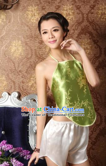 Traditional Chinese Ming Dynasty Princess Green Embroidered Bellyband, China Ancient Palace Lady Stomachers Embroidery Undergarment for Women
