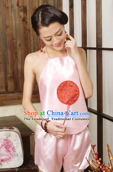Traditional Chinese Ming Dynasty Princess Light Pink Embroidered Bellyband, China Ancient Palace Lady Stomachers Embroidery Undergarment for Women