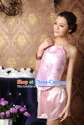 Traditional Chinese Ming Dynasty Princess Pink Bellyband, China Ancient Palace Lady Stomachers Embroidery Undergarment for Women