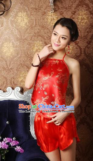 Traditional Chinese Ming Dynasty Princess Red Embroidered Bellyband, China Ancient Palace Lady Stomachers Embroidery Undergarment for Women