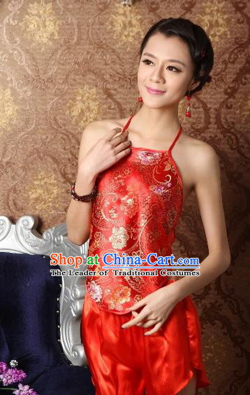 Traditional Chinese Ming Dynasty Princess Embroidered Peony Red Bellyband, China Ancient Palace Lady Stomachers Embroidery Undergarment for Women