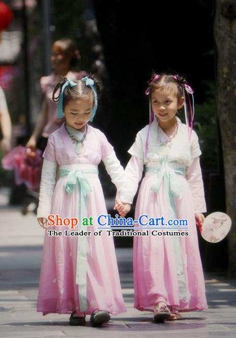 Traditional Ancient Chinese Princess Costume, Elegant Hanfu Clothing Chinese Han Dynasty Palace Lady Embroidered Clothing for Kids