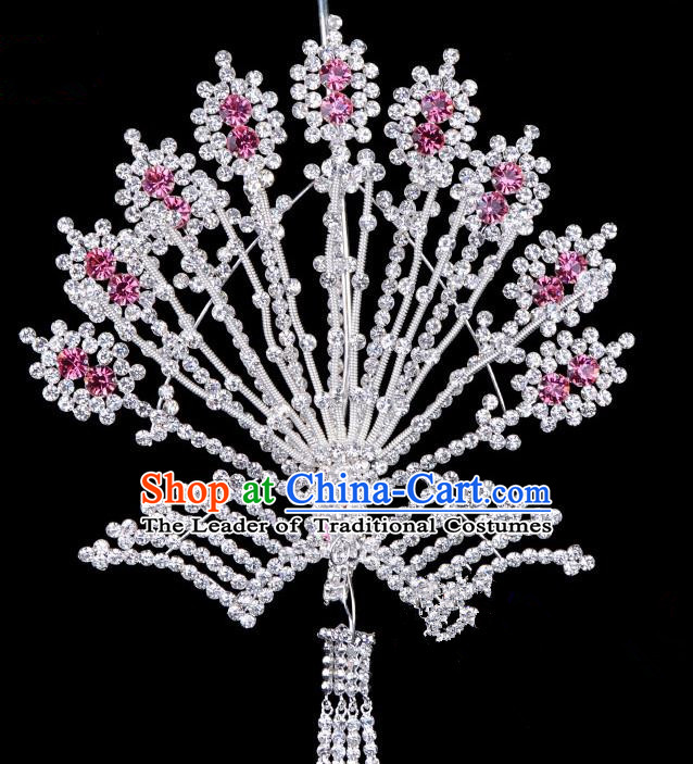 Traditional Beijing Opera Diva Hair Accessories Pink Crystal Phoenix Hairpins, Ancient Chinese Peking Opera Hua Tan Tassel Step Shake Hair Stick Headwear