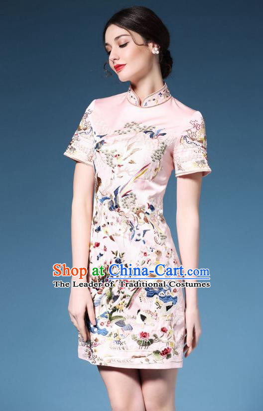 Traditional Top Grade Asian Chinese Costumes Classical Embroidery Cheongsam, China National Chirpaur Dress Pink Qipao for Women