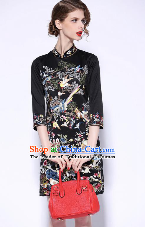 Traditional Top Grade Asian Chinese Costumes Classical Embroidery Cheongsam, China National Middle Sleeve Chirpaur Dress Black Qipao for Women