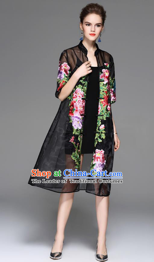 Traditional Top Grade Asian Chinese Costumes Classical Embroidery Peony Black Coat, China National Plated Buttons Dust Coat for Women