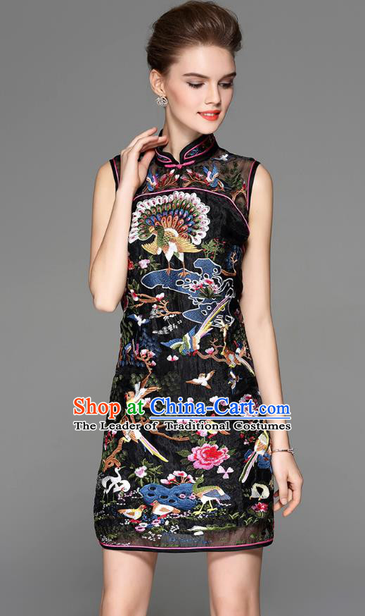 Traditional Top Grade Asian Chinese Costumes Classical Embroidery Cheongsam, China National Black Chirpaur Dress Qipao for Women