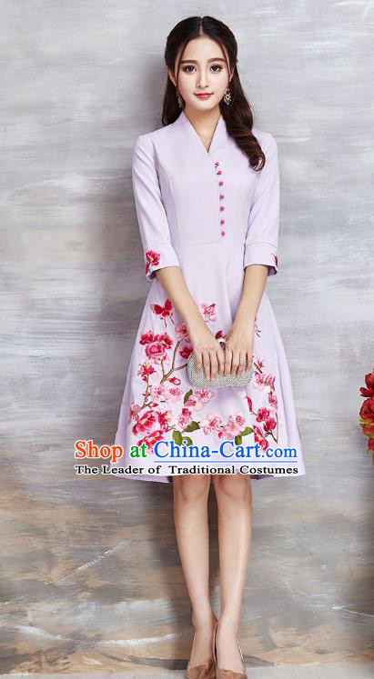 Top Grade Asian Chinese Costumes Classical Embroidery Flowers Lilac Dress, Traditional China National Slant Opening Chirpaur Qipao for Women