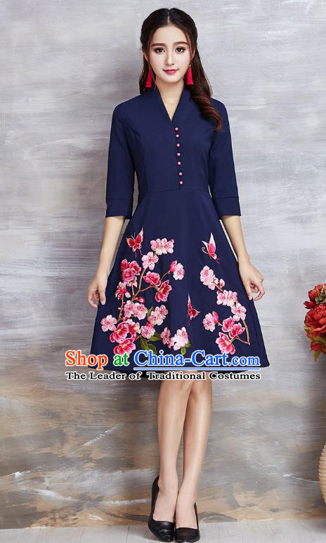 Top Grade Asian Chinese Costumes Classical Embroidery Flowers Navy Dress, Traditional China National Slant Opening Chirpaur Qipao for Women