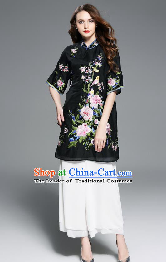 Top Grade Asian Chinese Costumes Classical Embroidery Peony Black Dress Silk Cheongsam Upper Outer Garment, Traditional China National Embroidered Chirpaur Qipao for Women