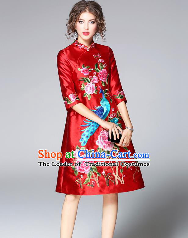 Top Grade Asian Chinese Costumes Classical Embroidery Red Satin Cheongsam, Traditional China National Embroidered Phoenix Chirpaur Clothing for Women