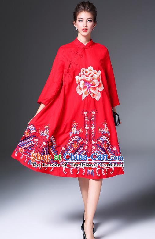 Top Grade Asian Chinese Costumes Classical Embroidery Peony Slant Opening Cheongsam, Traditional China National Red Chirpaur Dress Qipao for Women