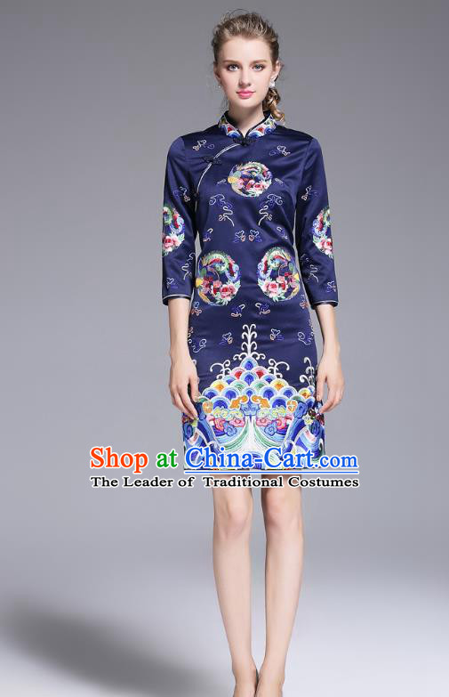 Top Grade Asian Chinese Costumes Classical Embroidery Plated Buttons Navy Cheongsam, Traditional China National Slant Opening Embroidered Chirpaur Clothing for Women