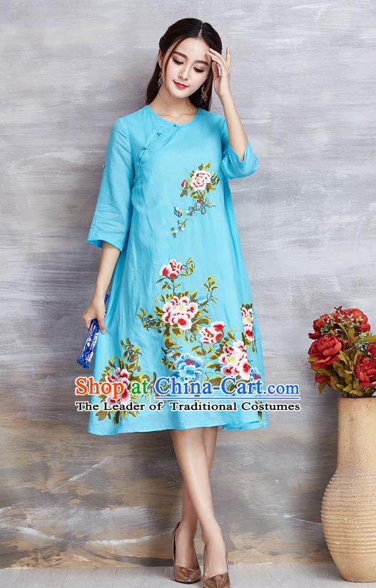 Top Grade Asian Chinese Linen Costumes Classical Embroidery Flowers Cheongsam, Traditional China National Blue Plated Buttons Chirpaur Dress Qipao for Women