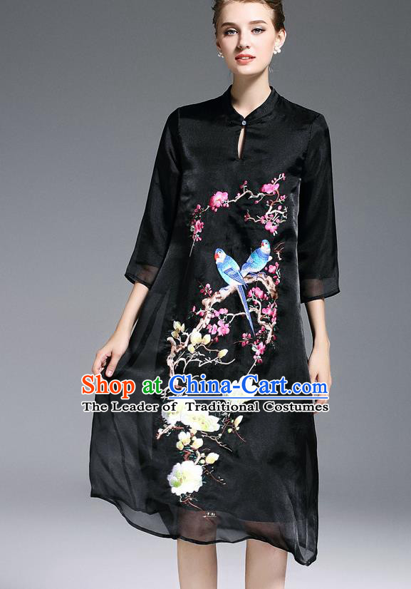 Top Grade Asian Chinese Costumes Classical Embroidery Cheongsam, Traditional China National Middle Sleeve Chirpaur Plated Buttons Black Qipao for Women