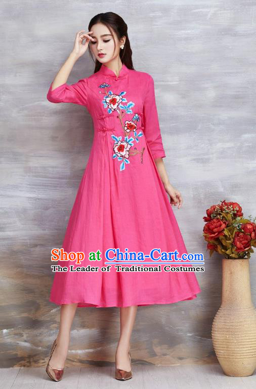 Top Grade Asian Chinese Costumes Classical Embroidery Peony Slant Opening Pink Cheongsam, Traditional China National Plated Buttons Chirpaur Dress Qipao for Women