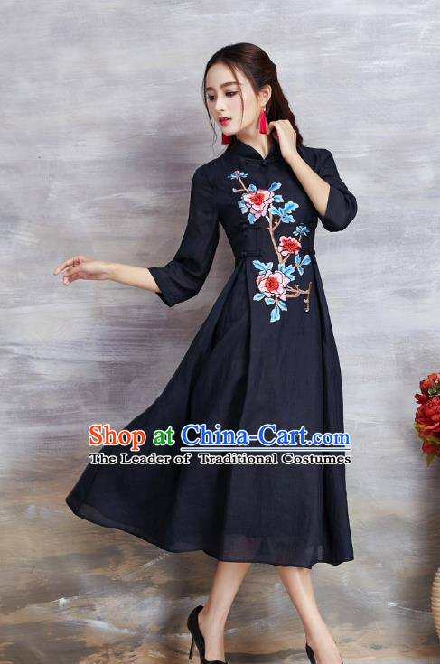 Top Grade Asian Chinese Costumes Classical Embroidery Peony Slant Opening Navy Cheongsam, Traditional China National Plated Buttons Chirpaur Dress Qipao for Women