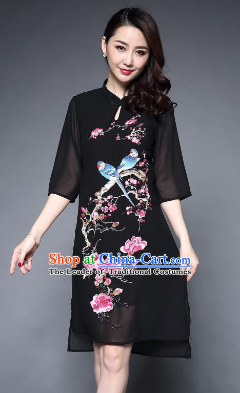 Top Grade Asian Chinese Costumes Classical Embroidery Birds Middle Sleeve Cheongsam, Traditional China National Plated Buttons Black Chirpaur Dress Qipao for Women