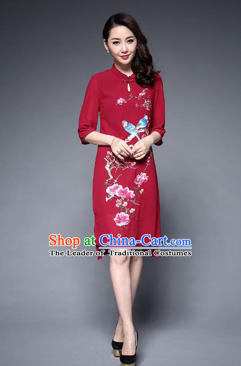 Top Grade Asian Chinese Costumes Classical Embroidery Birds Middle Sleeve Cheongsam, Traditional China National Plated Buttons Red Chirpaur Dress Qipao for Women