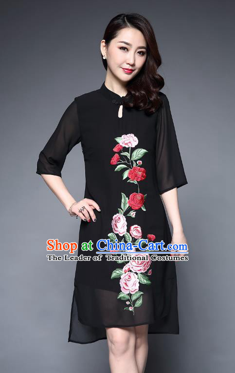 5ebeb61303 Asian Chinese Oriental Costumes Classical Embroidery Peony Black Chiffon  Cheongsam