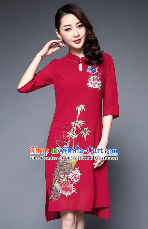 a2f88a4d3e Asian Chinese Oriental Costumes Classical Embroidery Peacock Red Cheongsam