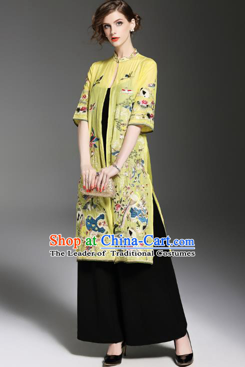 Asian Chinese Oriental Costumes Classical Embroidery Yellow Cardigan, Traditional China National Tang Suit Upper Outer Garment Overcoat for Women