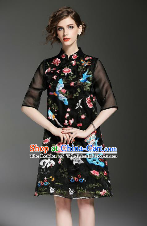 1f26adec4d Asian Chinese Oriental Costumes Classical Embroidery Black Cheongsam ...