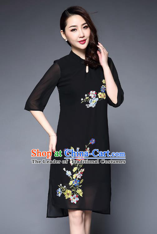 Asian Chinese Oriental Costumes Classical Embroidery Flowers Chiffon Dress, Traditional China National Tang Suit Black Cheongsam Qipao for Women