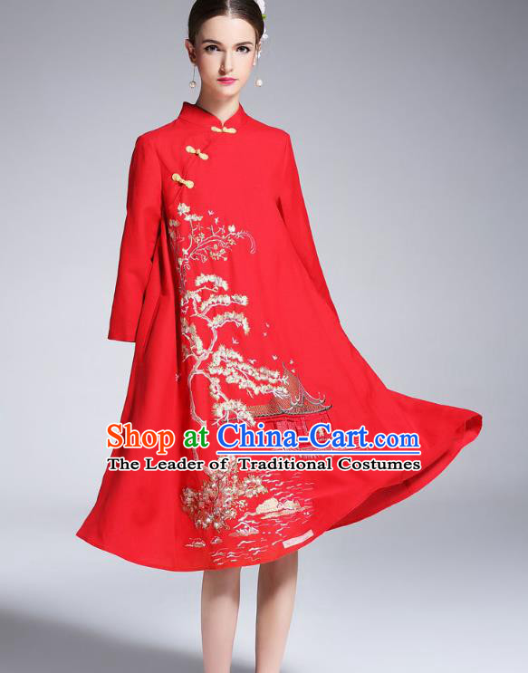 Asian Chinese Oriental Red Cheongsam Costumes, Traditional China National Embroidery Chirpaur Tang Suit Dress Qipao for Women