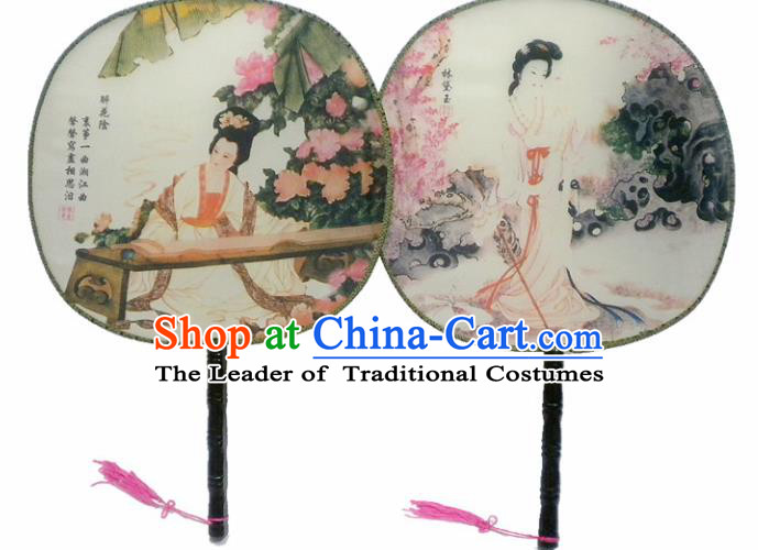 Traditional Asian Oriental Chinese Palace Lady Princess Round Fans Silk Circular Fan for Women