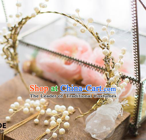 Top Grade Handmade Classical Hair Accessories Baroque Style Princess Pearls Hair Clasp Headwear for Women