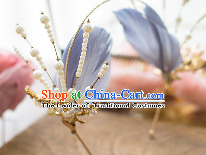 Top Grade Handmade Classical Hair Accessories Baroque Style Princess Pearls Blue Feathers Hair Clasp Headwear for Women
