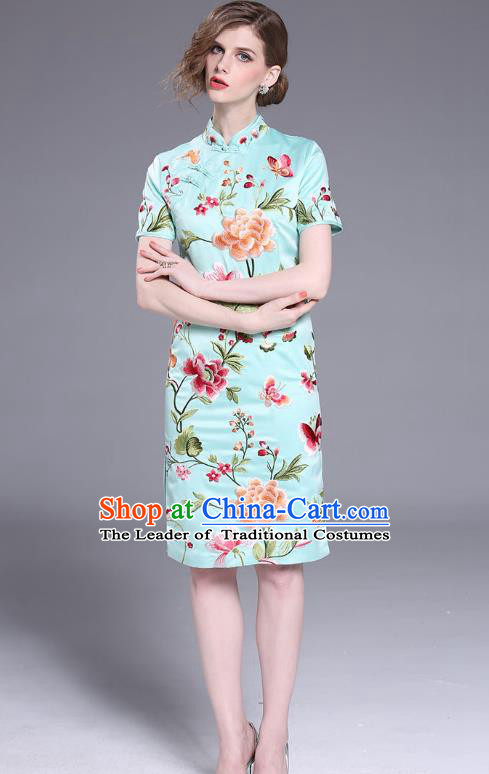 Asian Chinese Oriental Costumes Classical Slant Opening Embroidery Peony Blue Cheongsam, Traditional China National Chirpaur Tang Suit Qipao Dress for Women