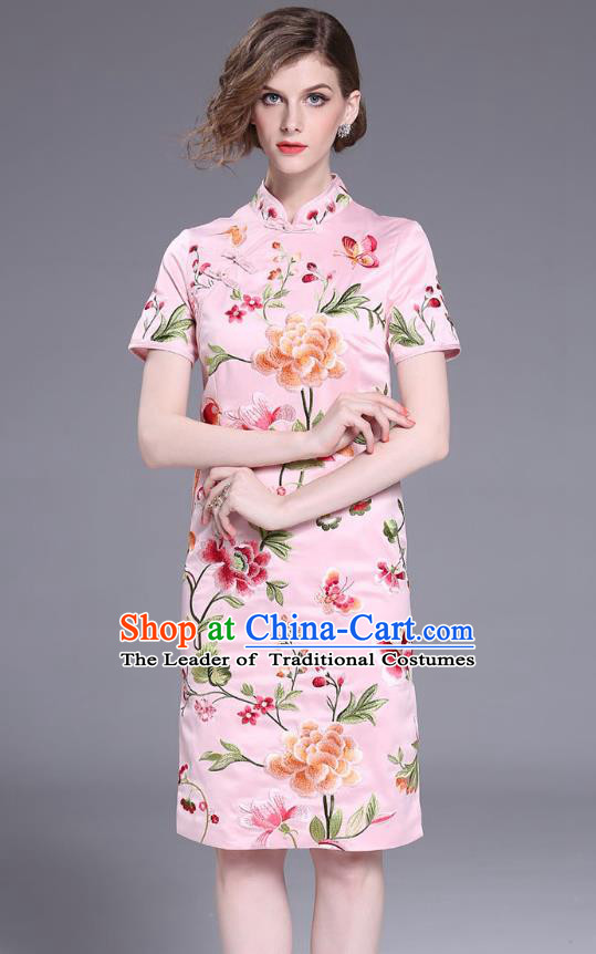 Asian Chinese Oriental Costumes Classical Slant Opening Embroidery Peony Pink Cheongsam, Traditional China National Chirpaur Tang Suit Qipao Dress for Women