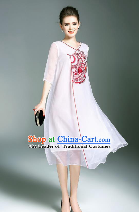 Asian Chinese Oriental Costumes Classical Slant Opening Embroidery White Organza Cheongsam, Traditional China National Chirpaur Tang Suit Plated Buttons Qipao Dress for Women