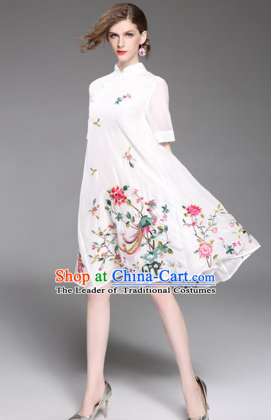 Asian Chinese Oriental Costumes Classical Slant Opening Embroidery Phoenix Peony Cheongsam, Traditional China National Chirpaur Tang Suit Plated Buttons White Qipao Dress for Women