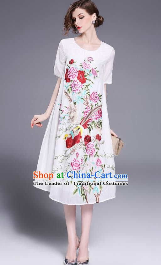 Asian Chinese Oriental Costumes Classical Slant Opening Embroidery Phoenix Linen Cheongsam, Traditional China National Chirpaur Tang Suit Plated Buttons White Qipao Dress for Women