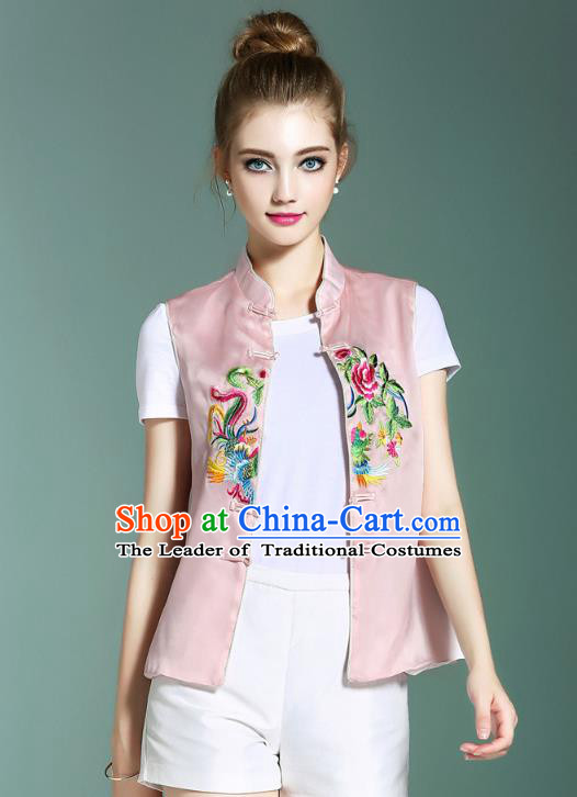 Asian Chinese Oriental Costumes Classical Palace Embroidery Pink Vest, Traditional China National Chirpaur Tang Suit Plated Buttons Waistcoat for Women