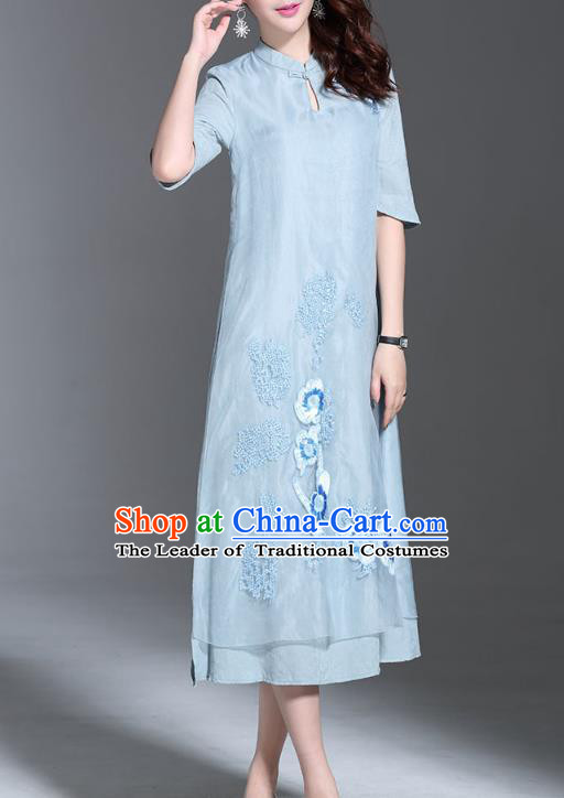 2d9bc0843b Asian Chinese Oriental Costumes Classical Palace Embroidery Blue Cheongsam
